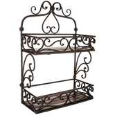 Iron & Brown Wood Two-Tiered Scroll Wall Shelf